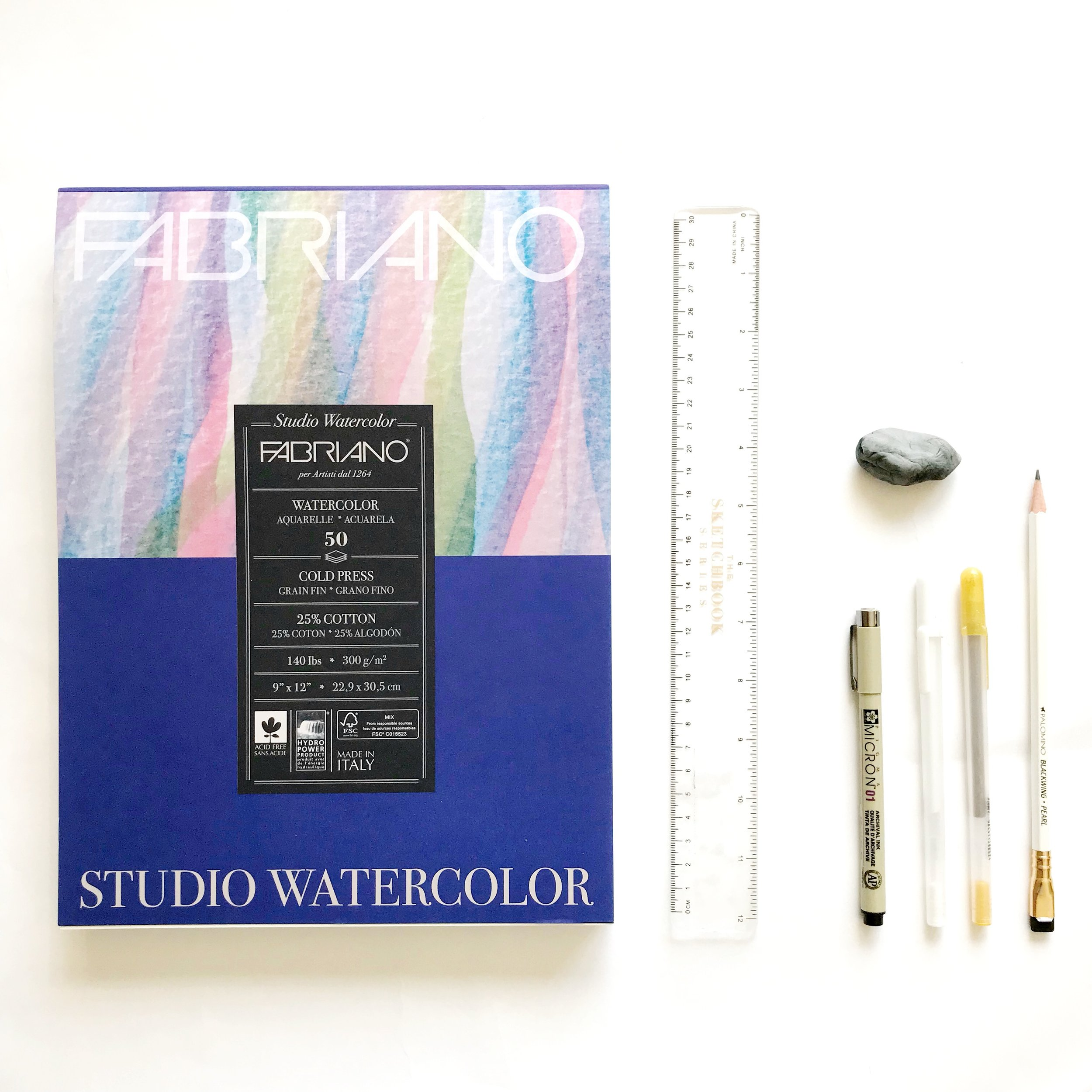 "8.5"" x 11"" Fabriano Watercolor pad 12"" Clear Ruler Graphite pencil Gold Gel Pens (Gold/White) Black 01Micron Detail Pen Kneaded Eraser  Interested in our purchasing our Basic Sketch Kit? You can purchase it  HERE .  FYI, we offer a sketchbook in our sketch kit, not the watercolor pad as shown above."