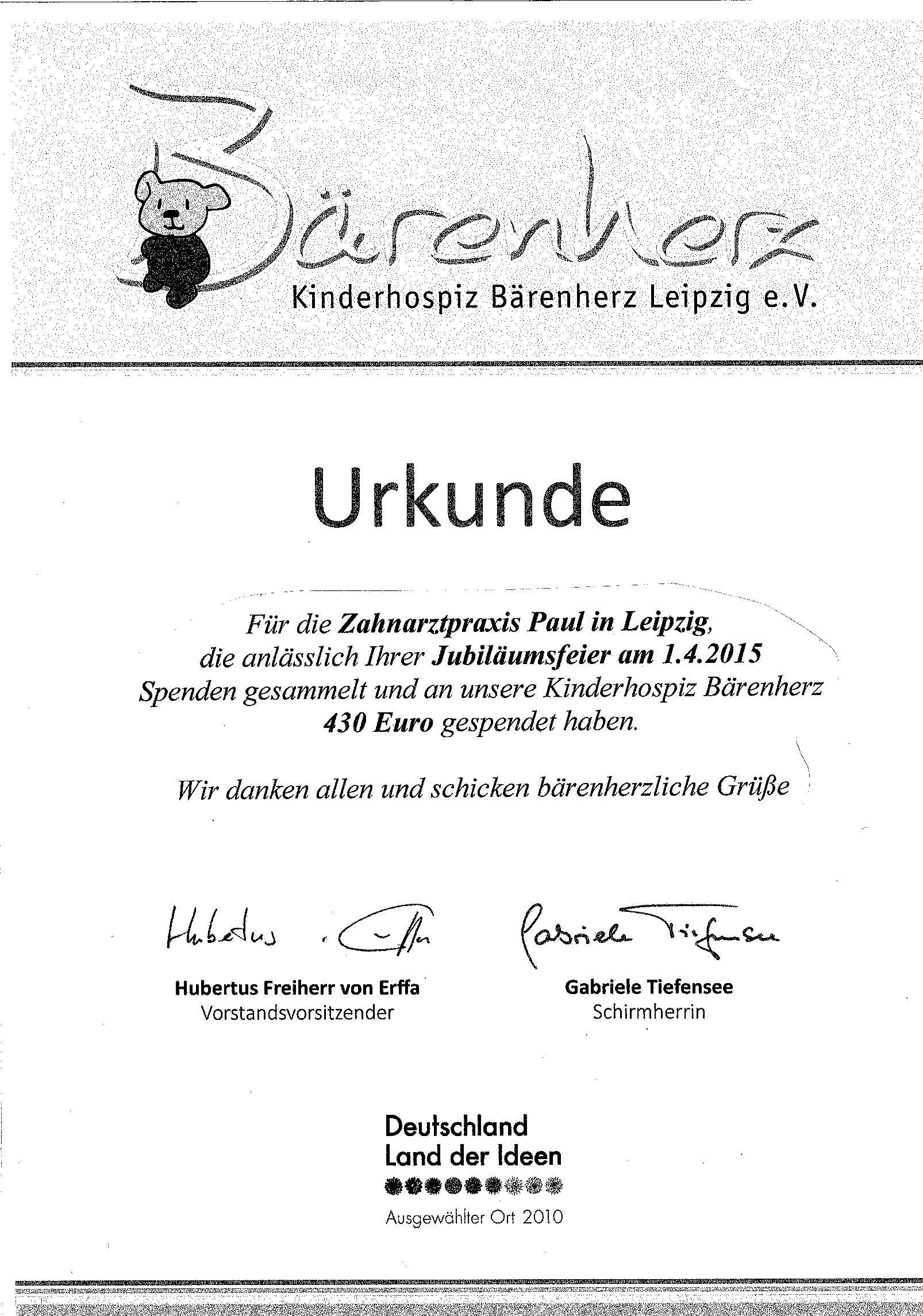 Urkunde Bärenherz