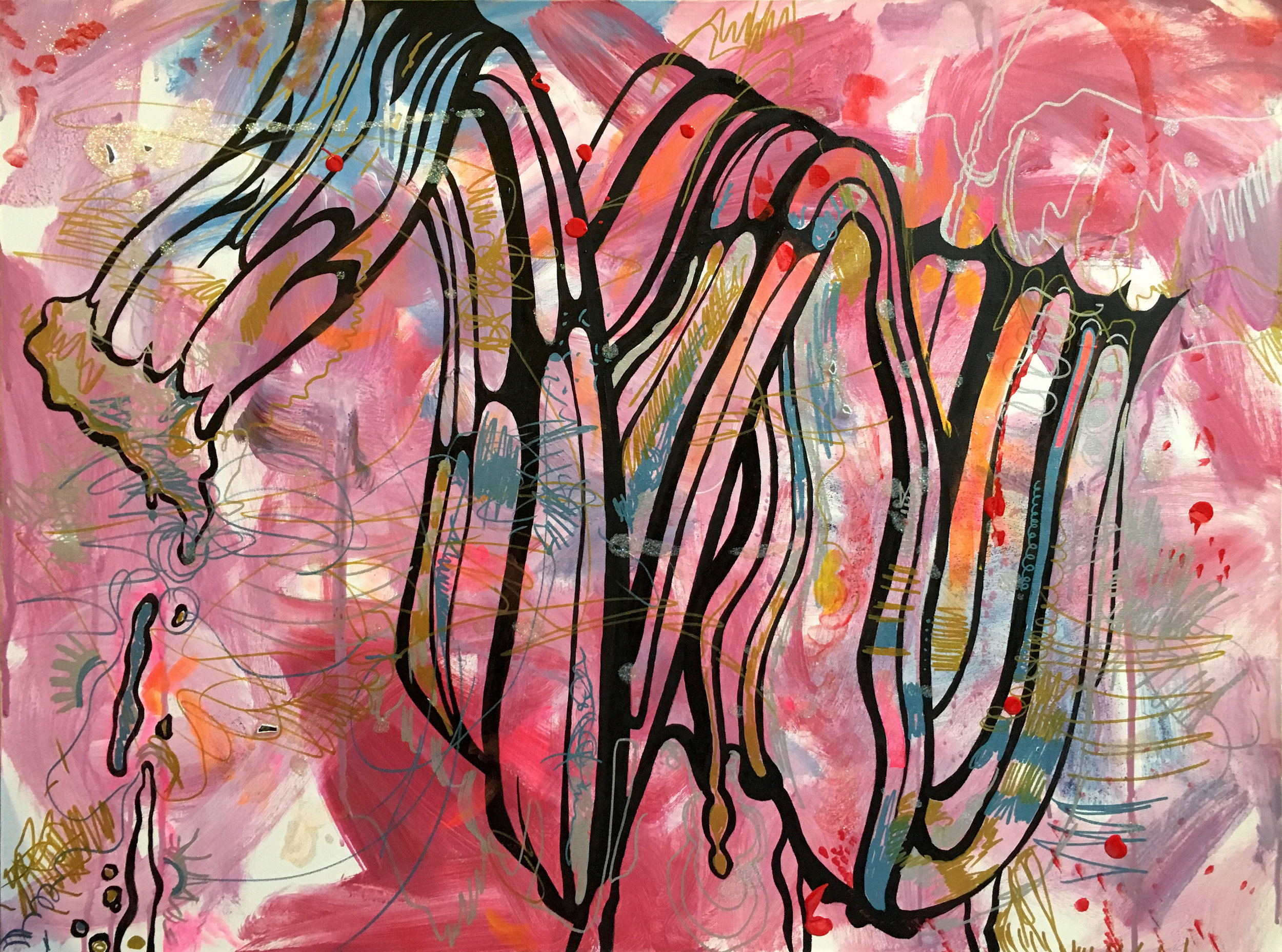 "Acrylic, oil, glitter craft paint, metallic marker, glass.  The Coloring Book:  My Large Glass is shattered on the floor. When I copy the brushstroke free-hand, it gets less and less accurate. I don't break the illusion of duplication as intent. I let it morph, but only just so. The process is ""painstaking,"" just like he wanted. It's deadpan Lichtenstein but also splattered with glitter. A re-personalization of a depersonalized work, continuing the cycle of reclamation (of things which reigned, were dismantled, and called upon again, always at somebody's expense).  I color it flat on the floor. It's calming like a coloring book, an exhale, inspiring that Pollock interpretation of Surrealist inhibition-breaking. In the hyper-pressurized zone where the deliberate seeks to cede to the automatic (where we aim to uncover the unconscious and speak the universal), the impulses of AbEx are shown in the process of wavering. The Institution, over a century after the Modern arose, continues to survive. Even Pop was subsumed.  There's broken glass everywhere. In the doorway. On the rug. On the canvas like an nonsensical mosaic. Paint can be as graphic as it is material. What's ""genius (him, my ability to copy him)"" is layered with the banal, what's art is pierced with the everyday. Despite him, the brushstroke lives on exalted, fetishized, instrumentalized."
