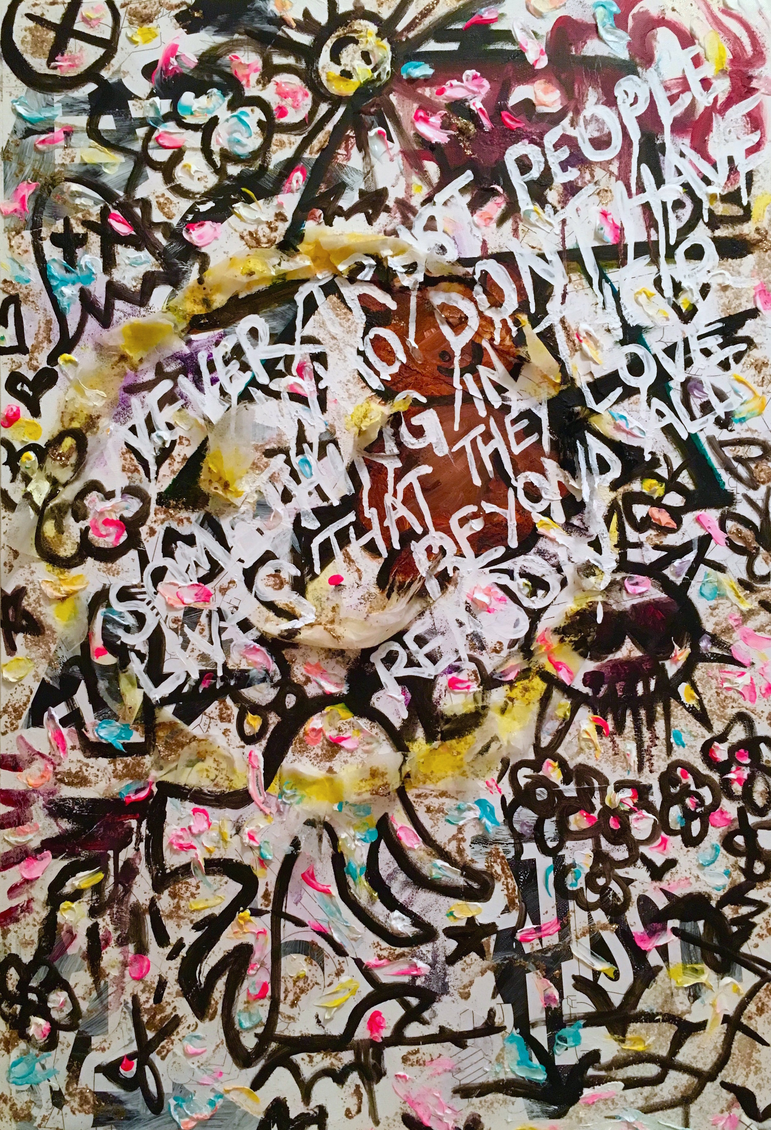 "Lethal Love. Coloring book pages, black lava medium, gold flake medium, dryer sheets, acrylic, and oil on canvas. ""Never trust people who don't have something in their lives that they love beyond all reason.""  My dad used to draw coloring books for me when he couldn't afford to buy them. For those of us who used to color aimlessly, as children of immigrants, wasn't it a privilege?  In Fredrik Backman's  Beartown , seeking justice for an irreparable tragedy is met with resistance for the sake of protecting the trajectory of a town—and a boy—poised for greatness.   What else will be done—no, what else will we do, how far will we go in the name of love (for country, for god, for blood, for power, for life)?"