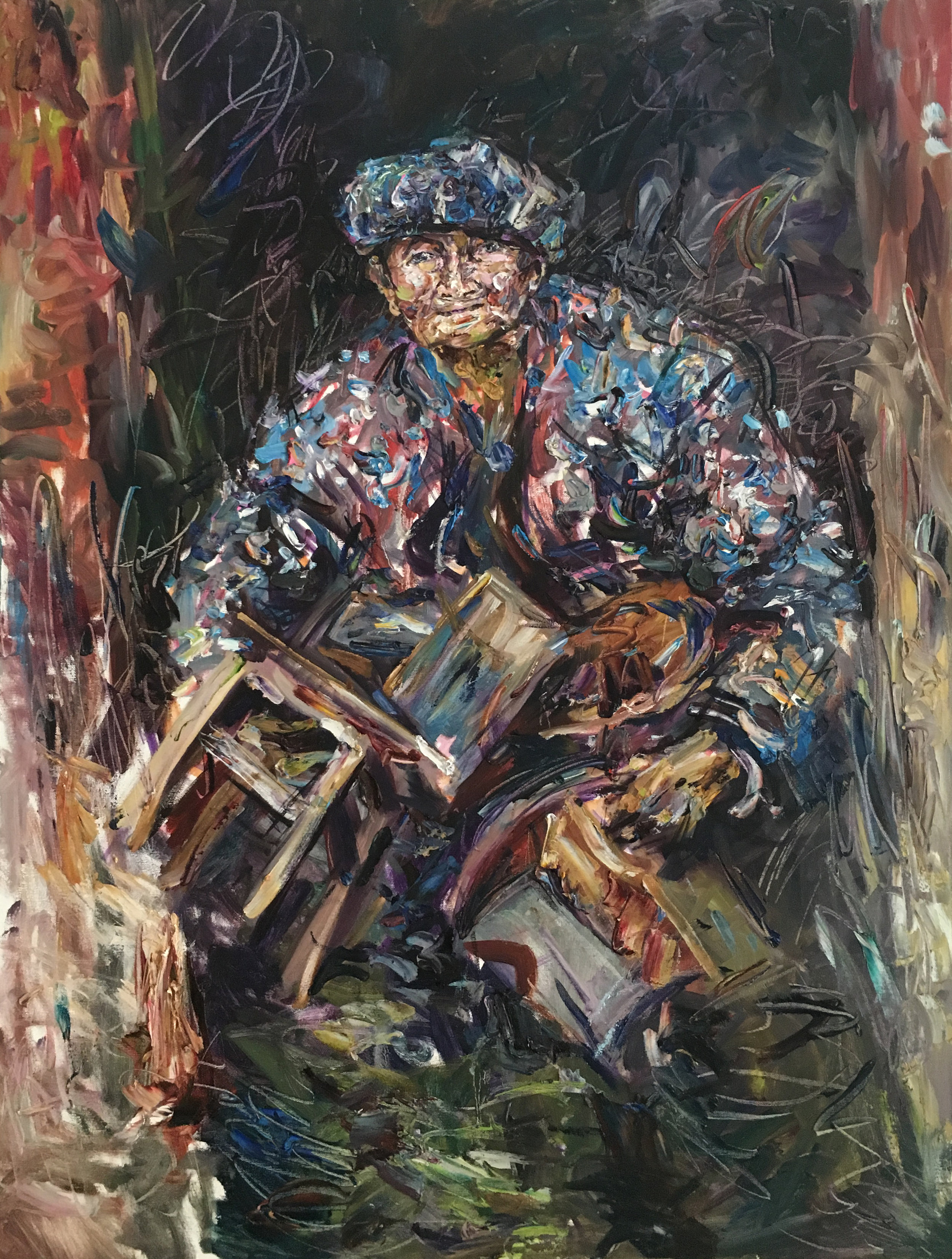 Woman with Chairs