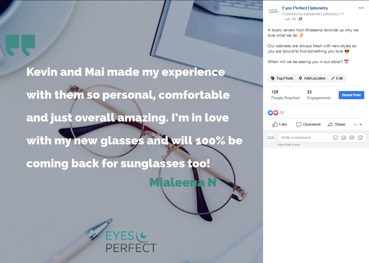 A positive Facebook review left by a customer was made into an infographic and posted on Instagram and Facebook to visualise the appraisal.