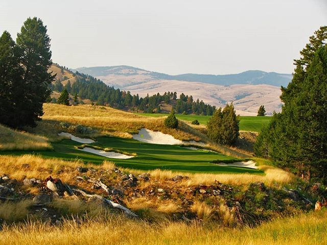 Rock Creek was my first golf course construction job, I worked for @doakgolf as an intern back in 2007 finishing bunkers and tee boxes for a summer. The setting here is one of the most unique landscapes in golf. The landforms have a dunesland shape dotted with scrub pines and rocks but the routing takes you along creek banks and through large Ponderosa Pines set against a mountain backdrop, sometimes snowcapped during the golf  season. I really need to get back here one day!