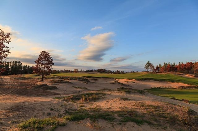 One of the most visually striking holes at Sand Valley, the long par 4 2nd. Don't miss right.