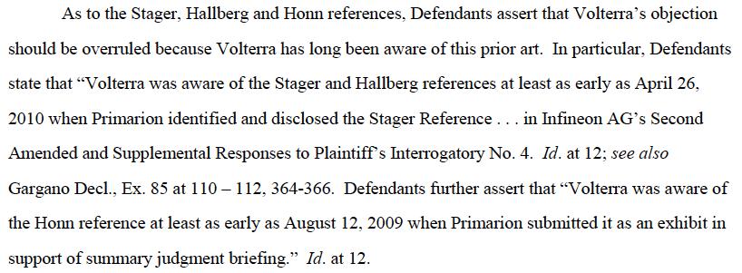 Volterra excerpt - prior art was disclosed (p. 10)