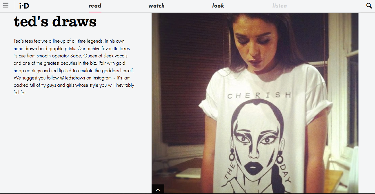 Ted's Draws named one of i-D's top 5t-shirt designers