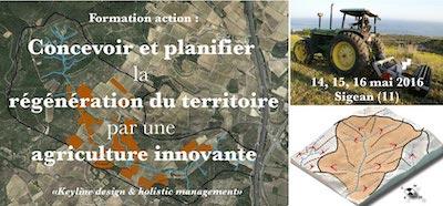 """""""Keyline Design et Holistic Management"""" Laurence Carretero, Franck Chevallier et David Mérino-Rigaill Mai 2016, Jardins de la Fount, Sigean"""