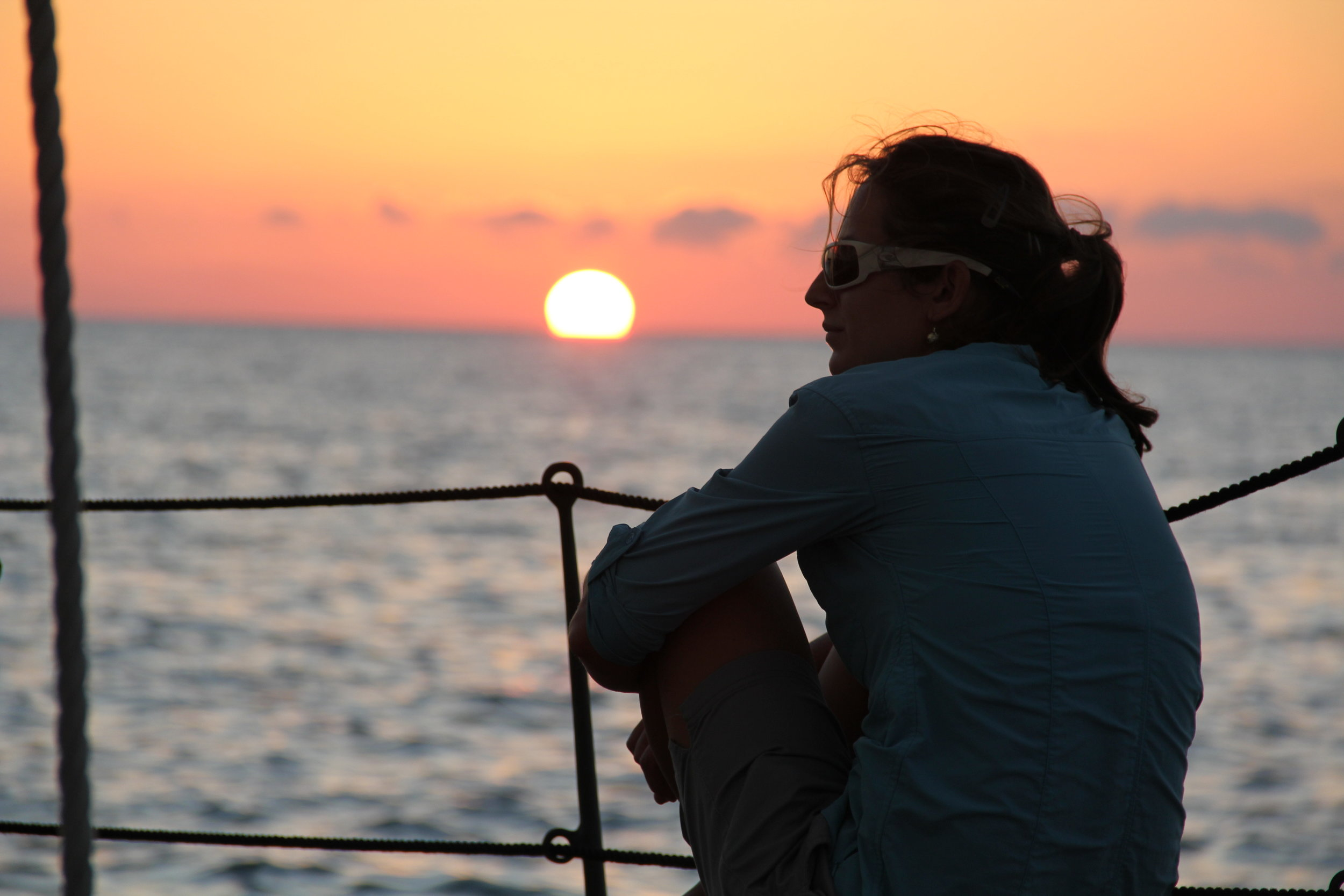 The author, aboard a schooner she ran as part-owner of a charter business in Key West, Fla. in 2012