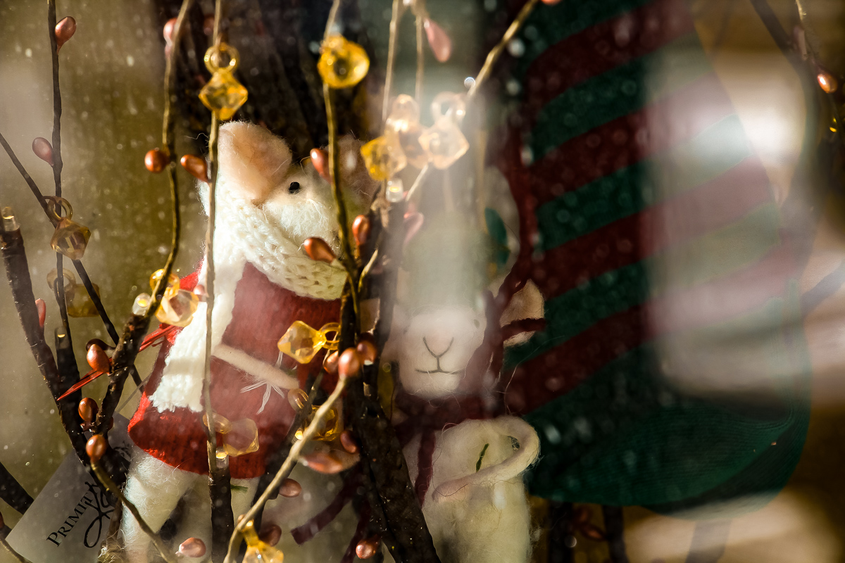 Christmas Mouse, Window Display of Abracadabra in Port Townsend, Photo by Bonnie Obremski