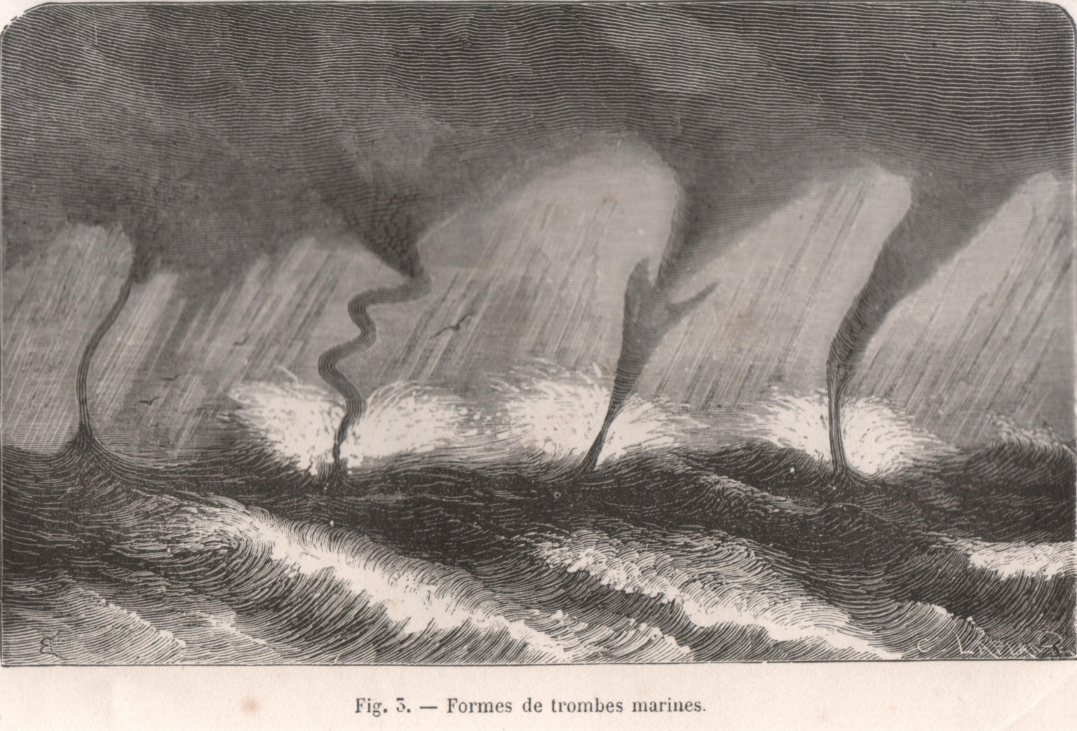 Different forms of waterspouts (Fig. 3, p. 15) .