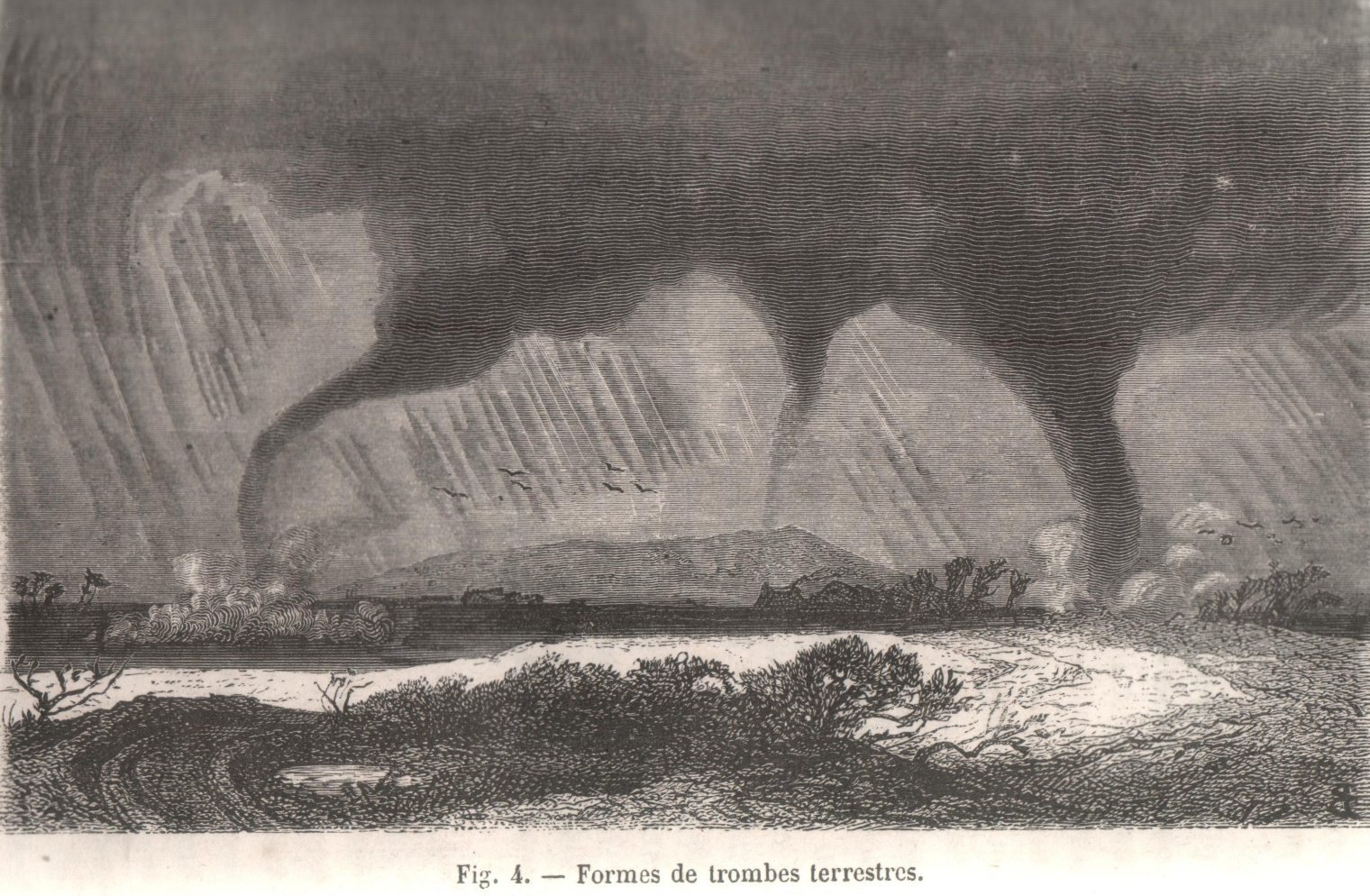 Different forms of tornadoes (Fig. 4, p. 29).