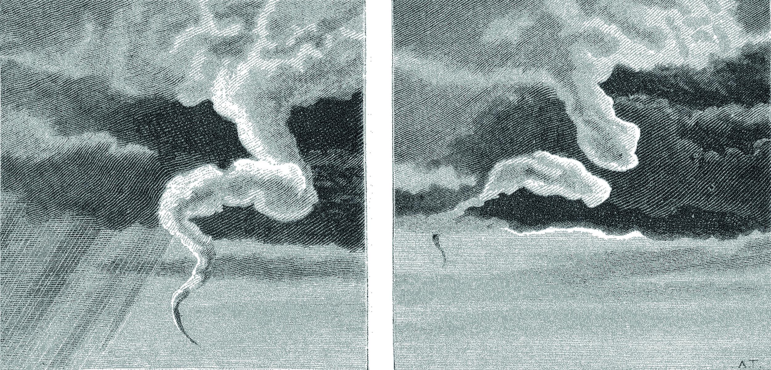 The dissipation of the Norwich tornado (June 1880) illustrated by Albert Tissandier.   source: Une Trombe Observee at Norwich, en Angleterre. La Nature 1880, 366–391, p. 215–216. Courtesy of   CNUM – Conservatoire Numérique des Arts et Métiers   (http://cnum.cnam.fr/).