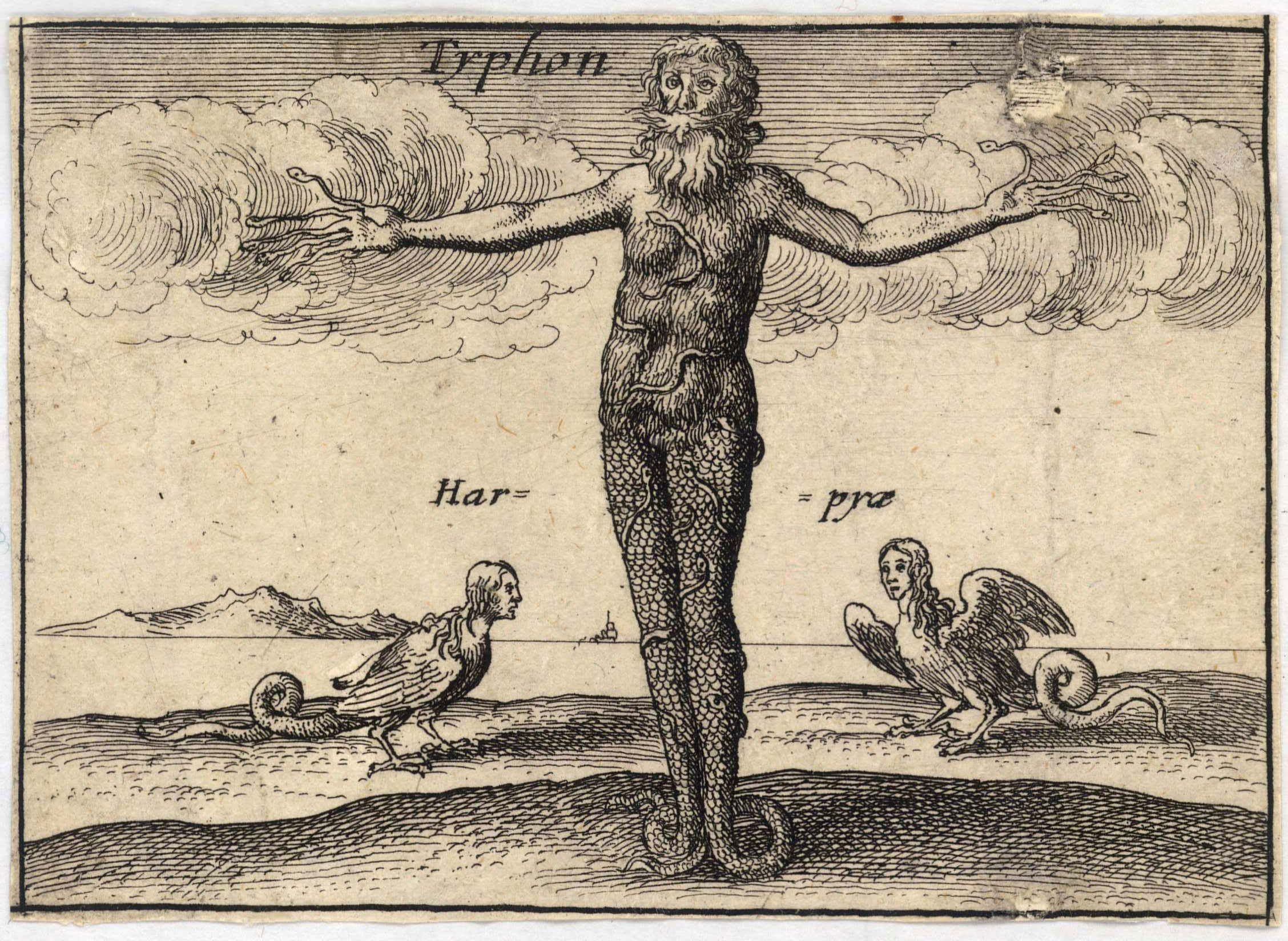 "Depiction ""Typhon"" from a series on "" The Greek Gods "" by the Bohemian etcher  Wenceslaus Hollar (Václav Hollar)  (1607–1677).  Born of  Mother Earth Gaia  and  Tartarus ,  Typhon  commands the destructive winds of the world, which he used on land to destroy crops and in water to sink ships and drown sailors. Several sources (e.g.,  Pindar ) locate Typhon's birth and dwelling place in the vicinity of the ancient Cilician coastal city of Corycus ( Kızkalesi, Turkey ). This is a region in which, according to  a recent climatology , tornadoes and waterspout are observed relatively frequently.    source:  artwork from  University of Toronto Wenceslaus Hollar Digital Collection  scanned by  University of Toronto , high resolution version extracted using custom tool  by User:Dcoetzee via Wikipedia ."