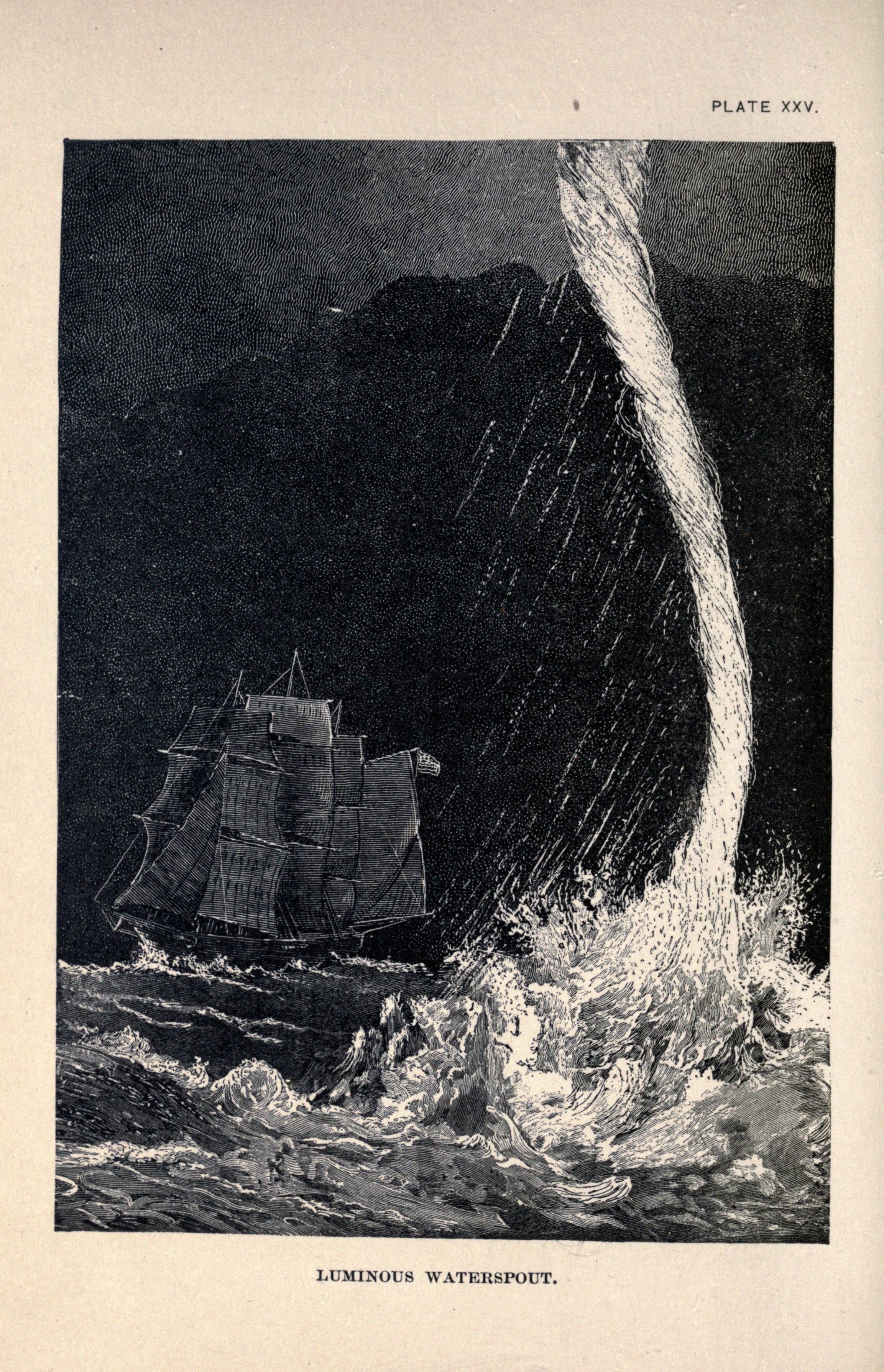 "A luminous waterspout from ""Living Lights"" (1887) by  Charles Frederick Holder  (1851–1915).  source: Holder, C.F., 1887:  Living lights: a popular account of phosphorescent animals and vegetables .   London, 187 pp. via archive.org [ PDF ]"