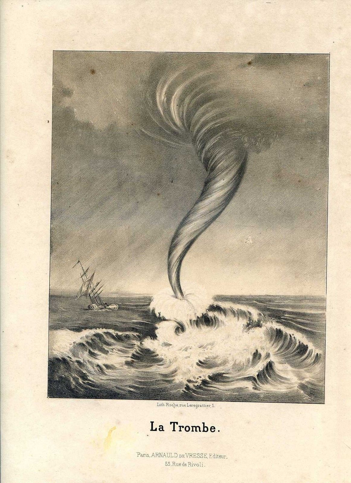 """A depiction of a waterspout from """" Les Curiosités et les merveilles de la nature """" (Curiosities and natural wonders) (1869).  source:Munerelle, 1869: Les Curiosités et les Merveilles de la Nature . Dessins par Lemaitre, Arnaud de Vresse, Paris,141 pp."""