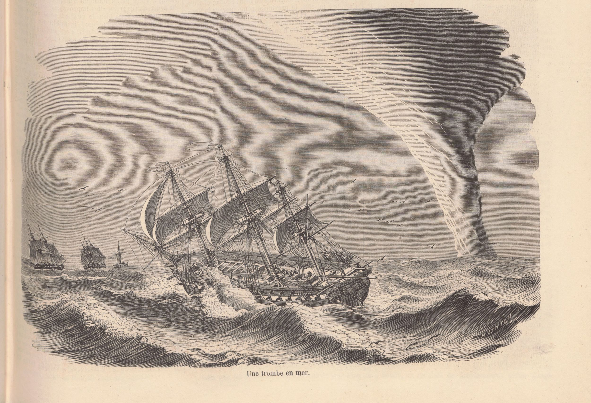 The French and British fleet encounters a waterspout near  Kamchatka Peninsula  (Russia).   source:  Le Monde Illustr  é ,  49 , 20 March 1858, p. 189 – 190. via  http://gallica.bnf.fr/ (  PDF )