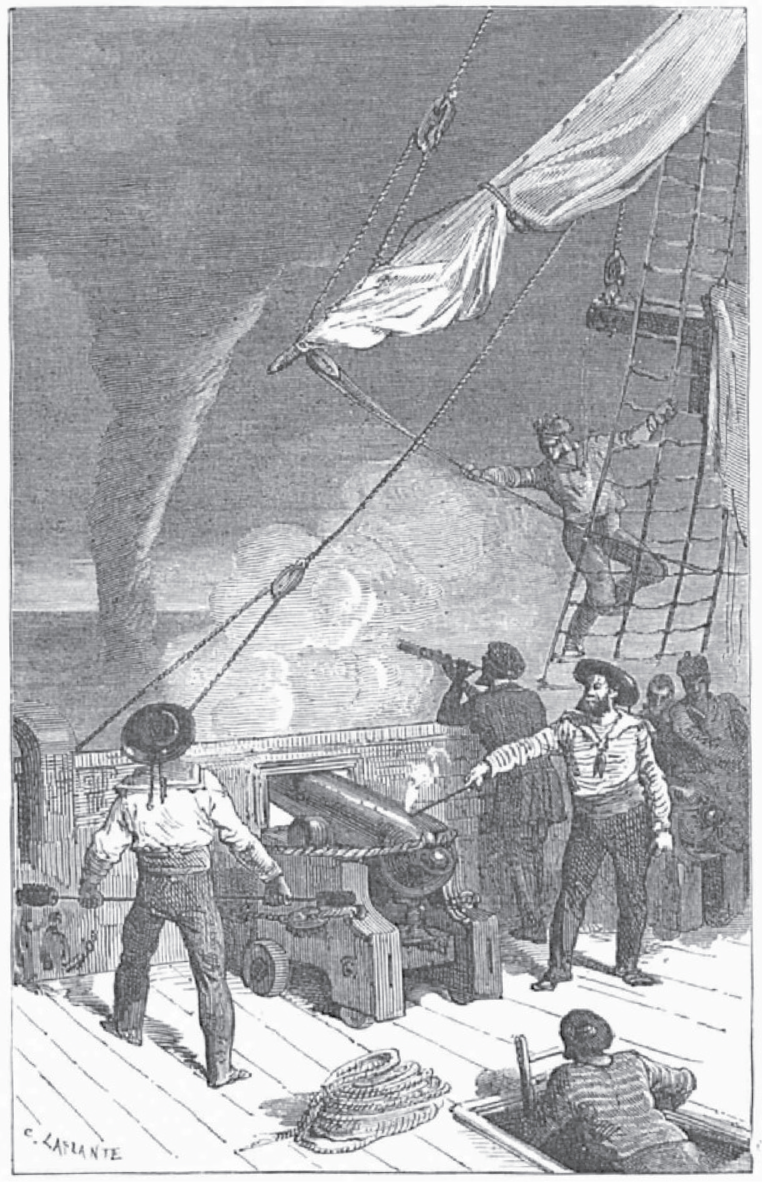 Captain Napier firing a cannon to break a waterspout (May1783).  source: source: de Fonvielle, Wilfrid, 1866:  Eclairs et tonnerres (Thunder and Lightning)  [illustrated  with 39 vignettes by E. Bayard and H. Clerget] Hachette, Paris, 318 pp. (via  http://gallica.bnf.fr/ , 1885 edition)