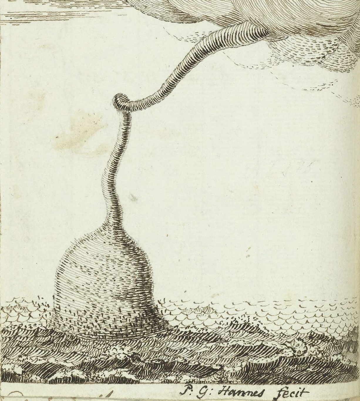 Pen drawing of a waterspout over the Atlantic Ocean (c. May 1778–Oct 1787) from the  sketchbook  of  Jan Brandes  (1743–1808), a Dutch pastor,  draftsman and watercolorist .  source:  Rijksmuseum .