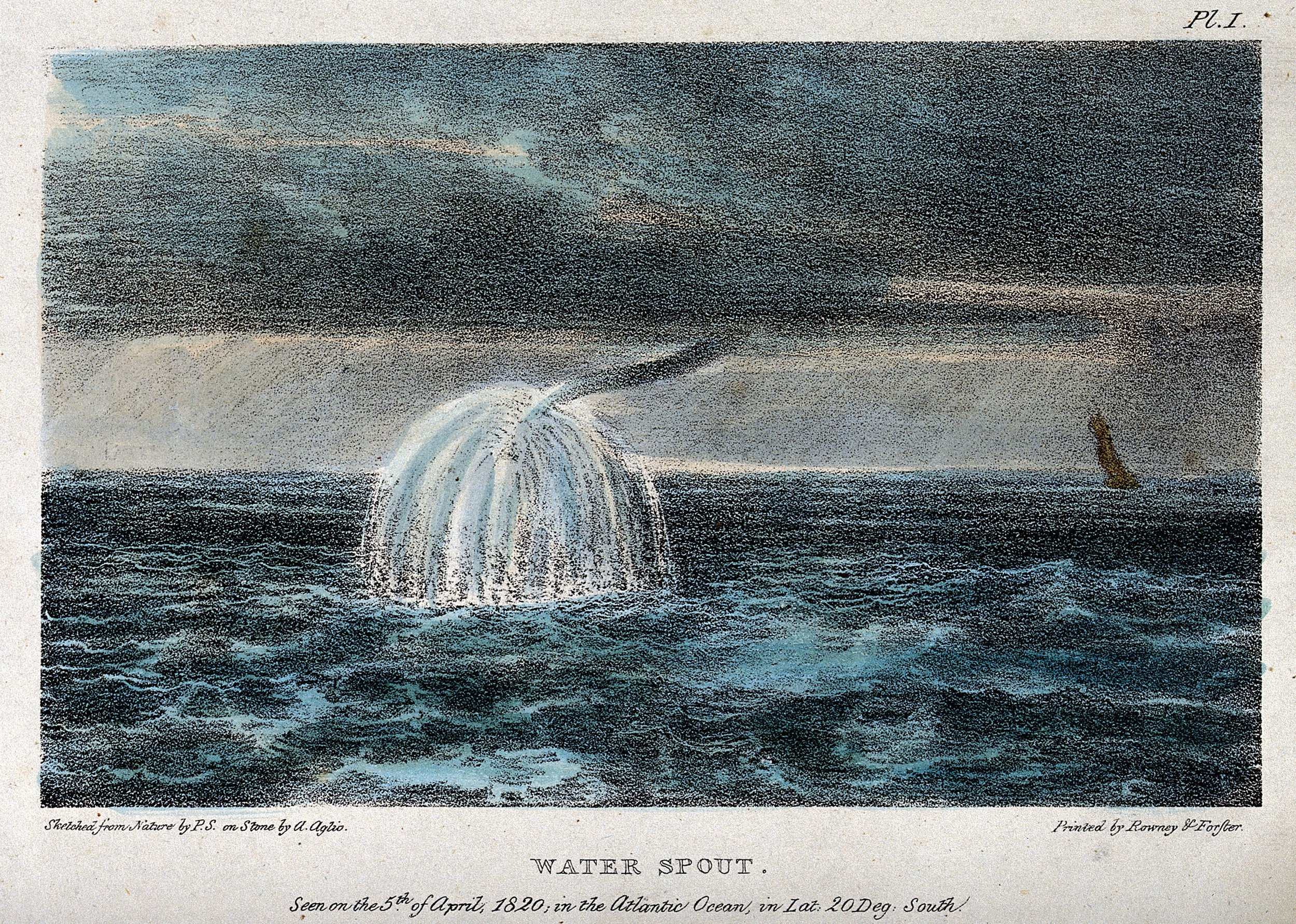 A waterspout observed over the Atlantic Ocean on 5 April 1820. Sketched from nature by P. S. and coloured lithograph by  Agostino Aglio  (1777– 1857).  source: this file comes from  Wellcome Images , a website operated by Wellcome Trust, a global charitable foundation based in the United Kingdom.