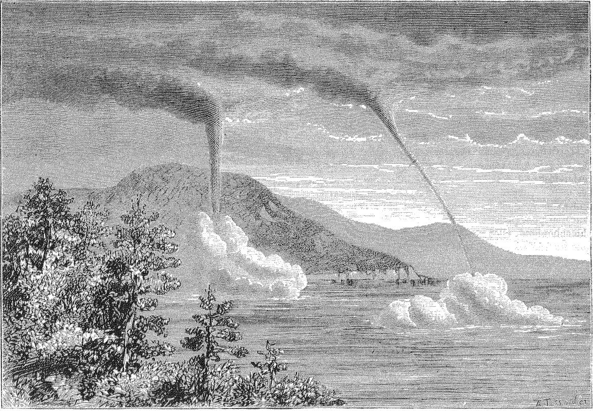 Waterspouts observed from  Toulon (France) on 28 February 1881. Illustration for   La Nature  by  Albert Tissandier (1839–1906)after a drawing by M. F. Zurcher.  source: Zurcher, F., 1881: Trombes Observéesa Toulon,  La Nature , 408, p. 257. via (Cnum -  Conservatoire numérique des Arts et Métiers  - http://cnum.cnam.fr)
