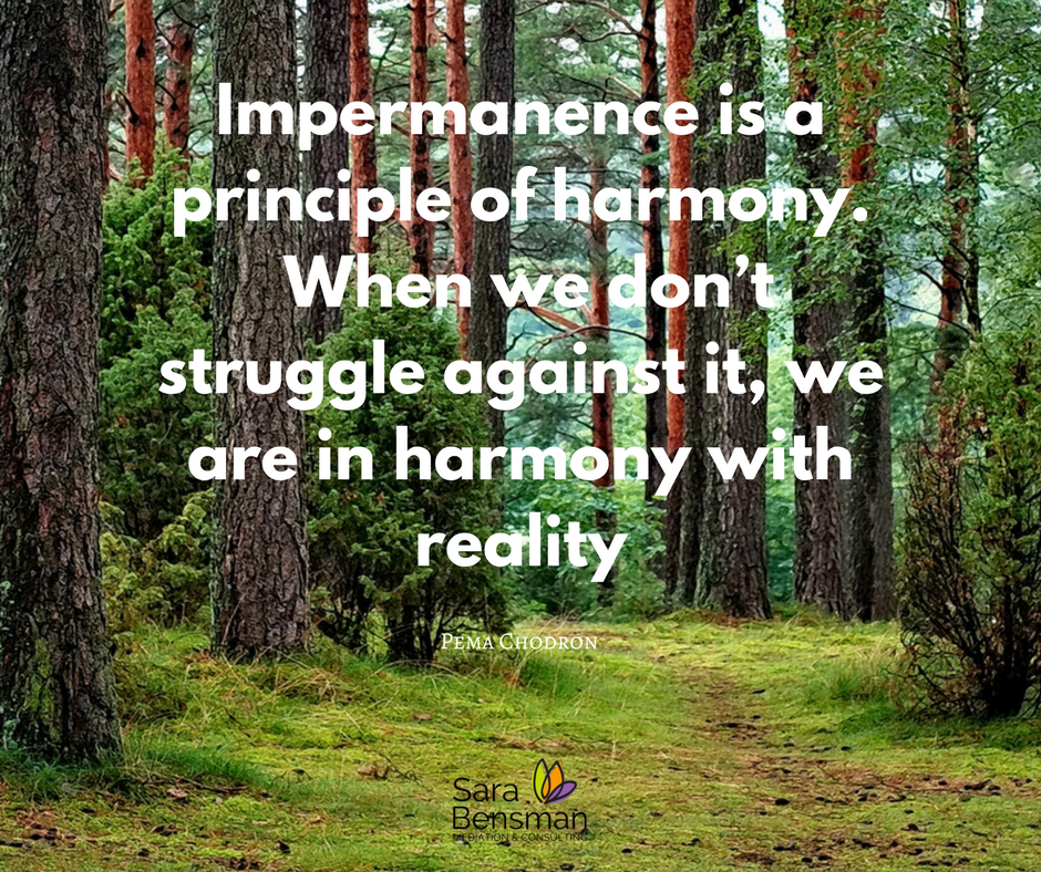 Impermanence is a principle of harmony.  When we don't struggle against it, we are in harmony with reality