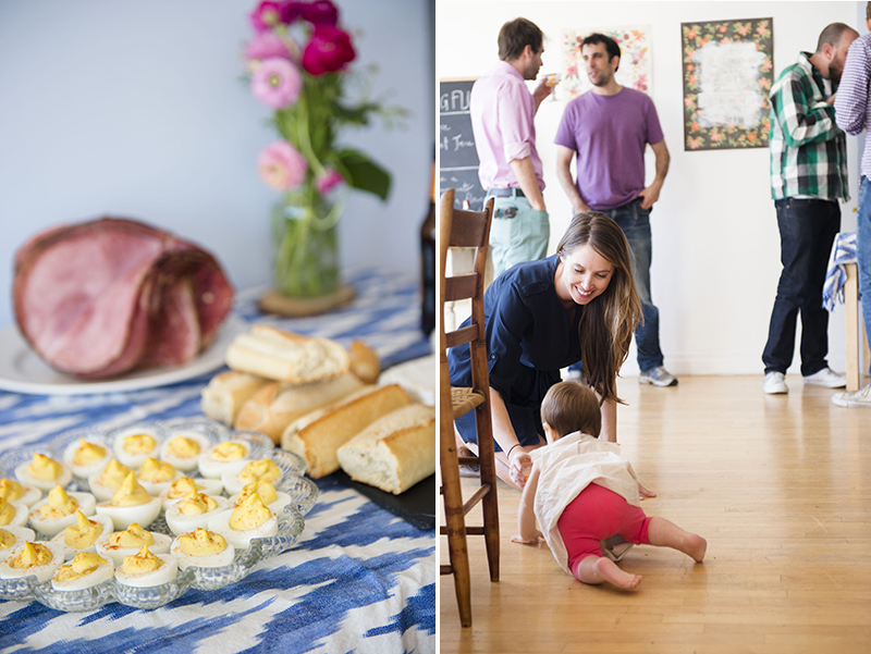 As people arrived, we set out deviled eggs and spiral cut ham as our littlest hostess, my 10-month-old daughter, greeted guests.