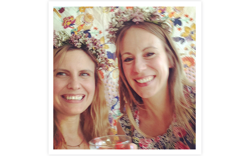 That's us! We hung a pretty floral table cloth up and encouraged people to use it as a backdrop for springy selfies.