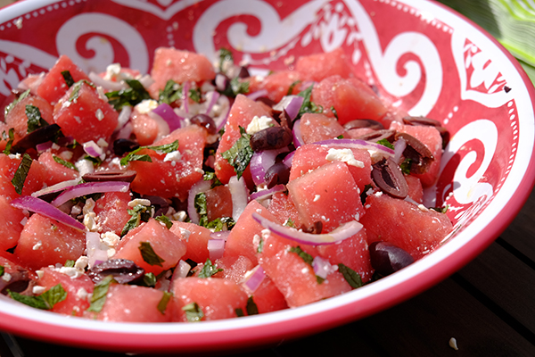 The watermelon salad at Jamie's daughter's watermelon themed first birthday party (photo by Jamie's father, Tom Grill)