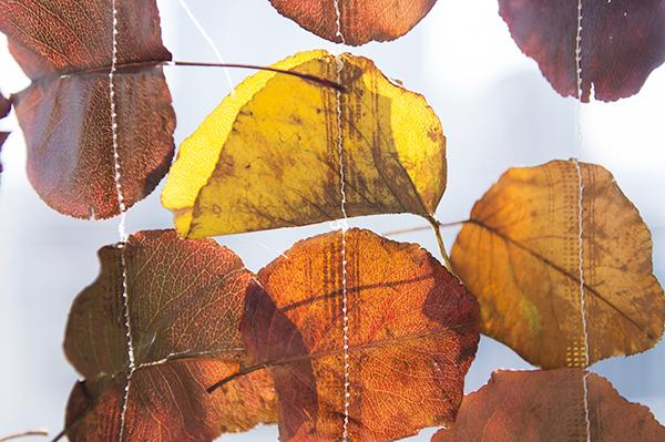 sewn leaf hanging garland - chasing saturdays