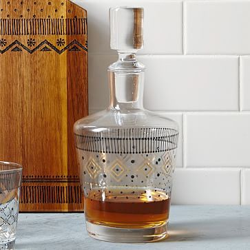 West Elm Festive Fair Isle Decanter