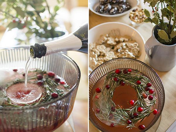 pomegranate rosemary holiday punch - chasing saturdays