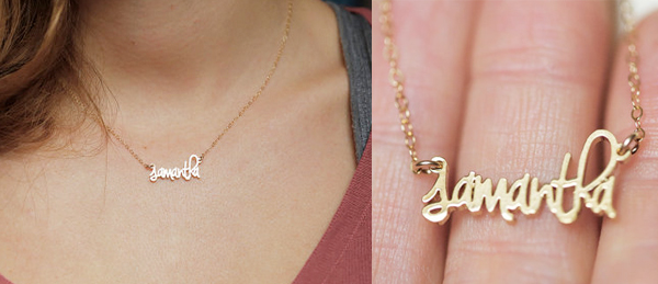 capucinne tiny name necklace - chasing saturdays