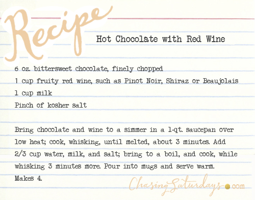 hot chocolate with red wine - chasing saturdays
