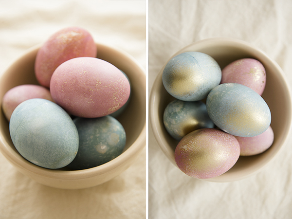 naturally dyed easter eggs with a touch of gold - chasing saturdays