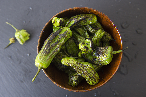 blistered shishito peppers with lime and sea salt - chasing saturdays