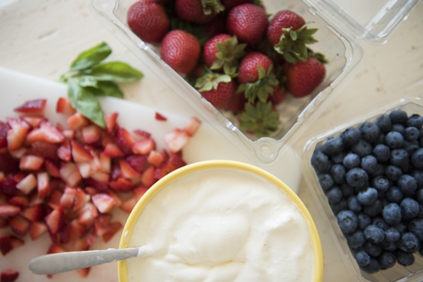 berries with basil infused whipped cream - chasing saturdays