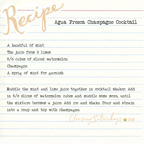 agua fresca champagne cocktail - chasing saturdays