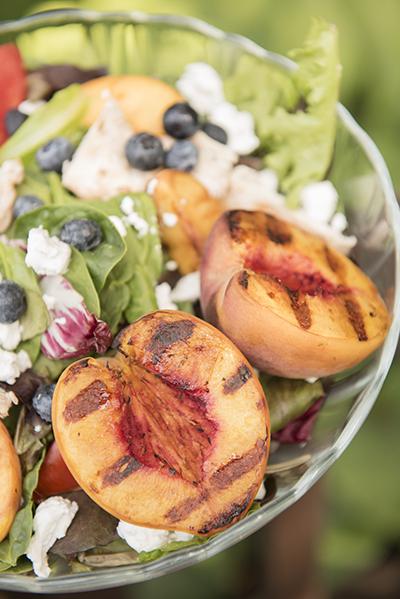 grilled peach summer salad - chasing saturdays