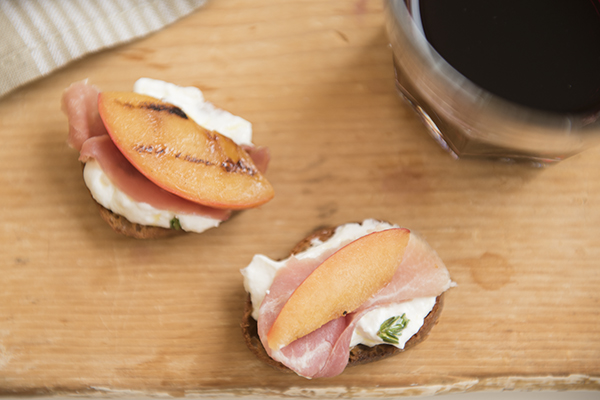 whipped ricotta with grilled pluots and prosciutto - chasing saturdays