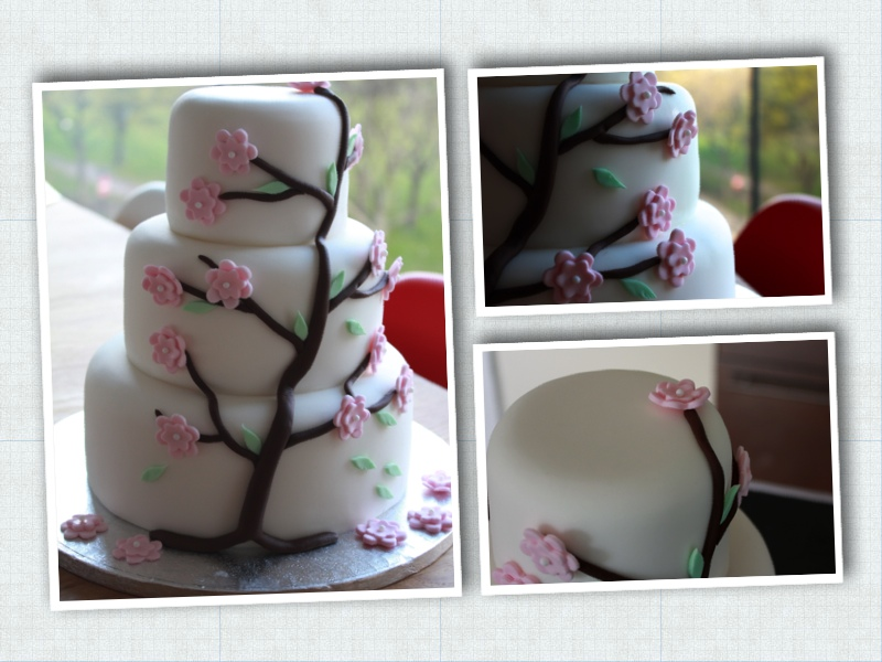 Three  tier cherry tree cake (vanilla sponge with raspberry jam and vanilla buttercream)