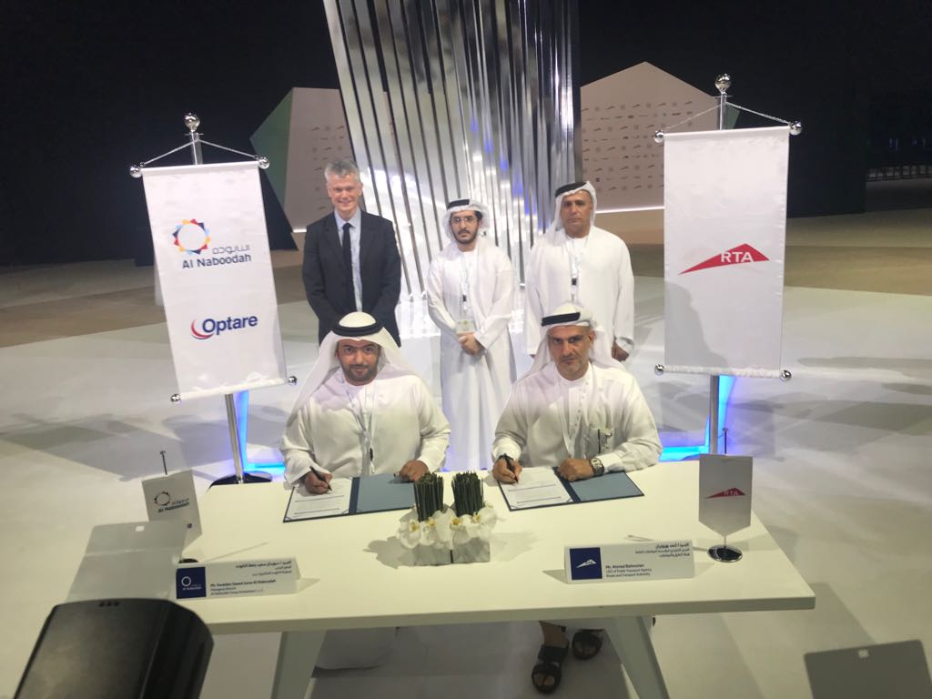 Signatories- Swaidan Al Naboodah, Acting Chairman, Al Naboodah Group and Mr Ahmad Bahrozyan, CEO Public Transport, RTA Dubai. Standing left to right-Robert Drewery, Buti Al Naboodah Deputy CEO Commercial and H E Mattar Al Tayer, Chairman, RTA
