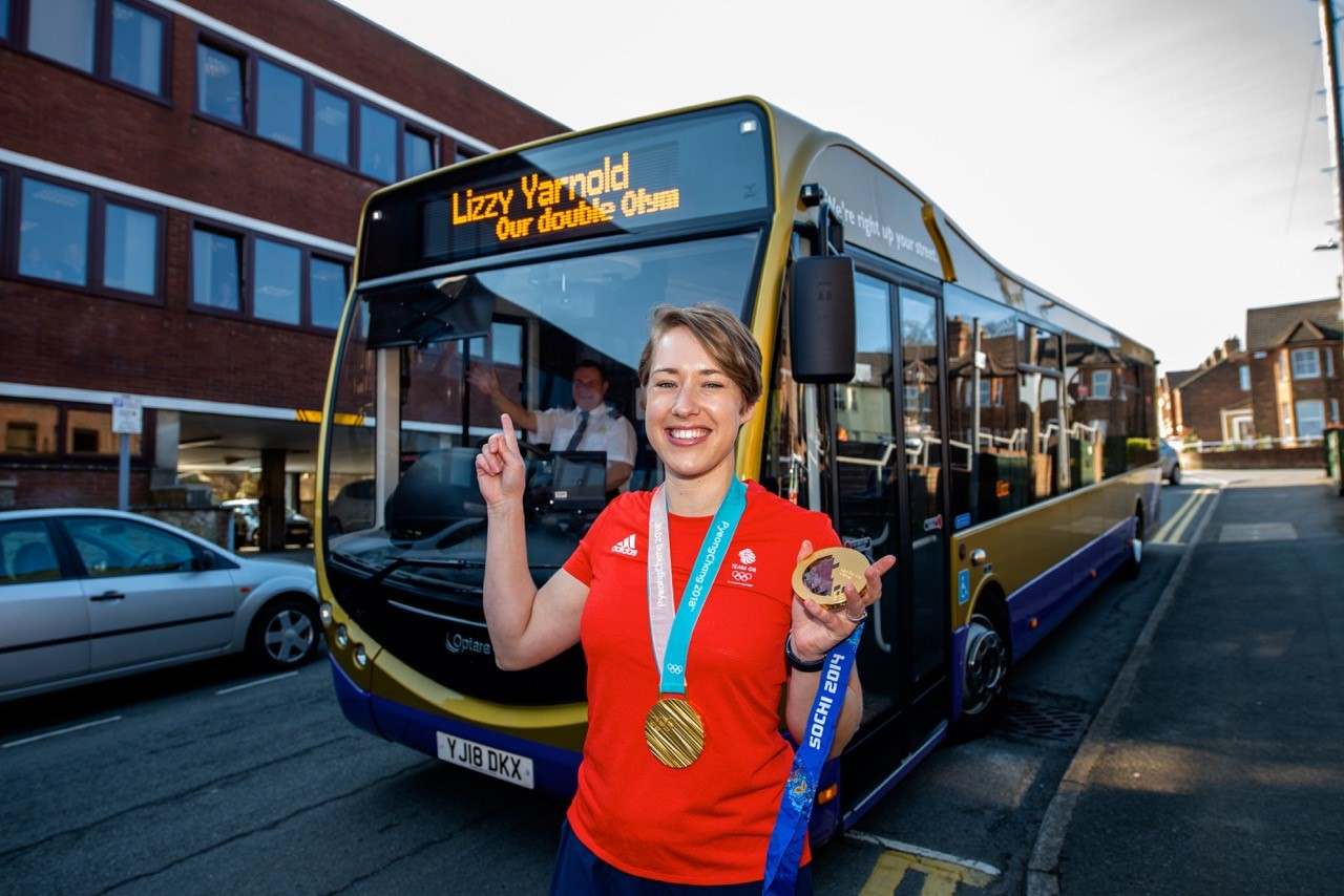 Lizzy Yarnold Gold Medalist with Go Coach Optare Metrocity.jpg