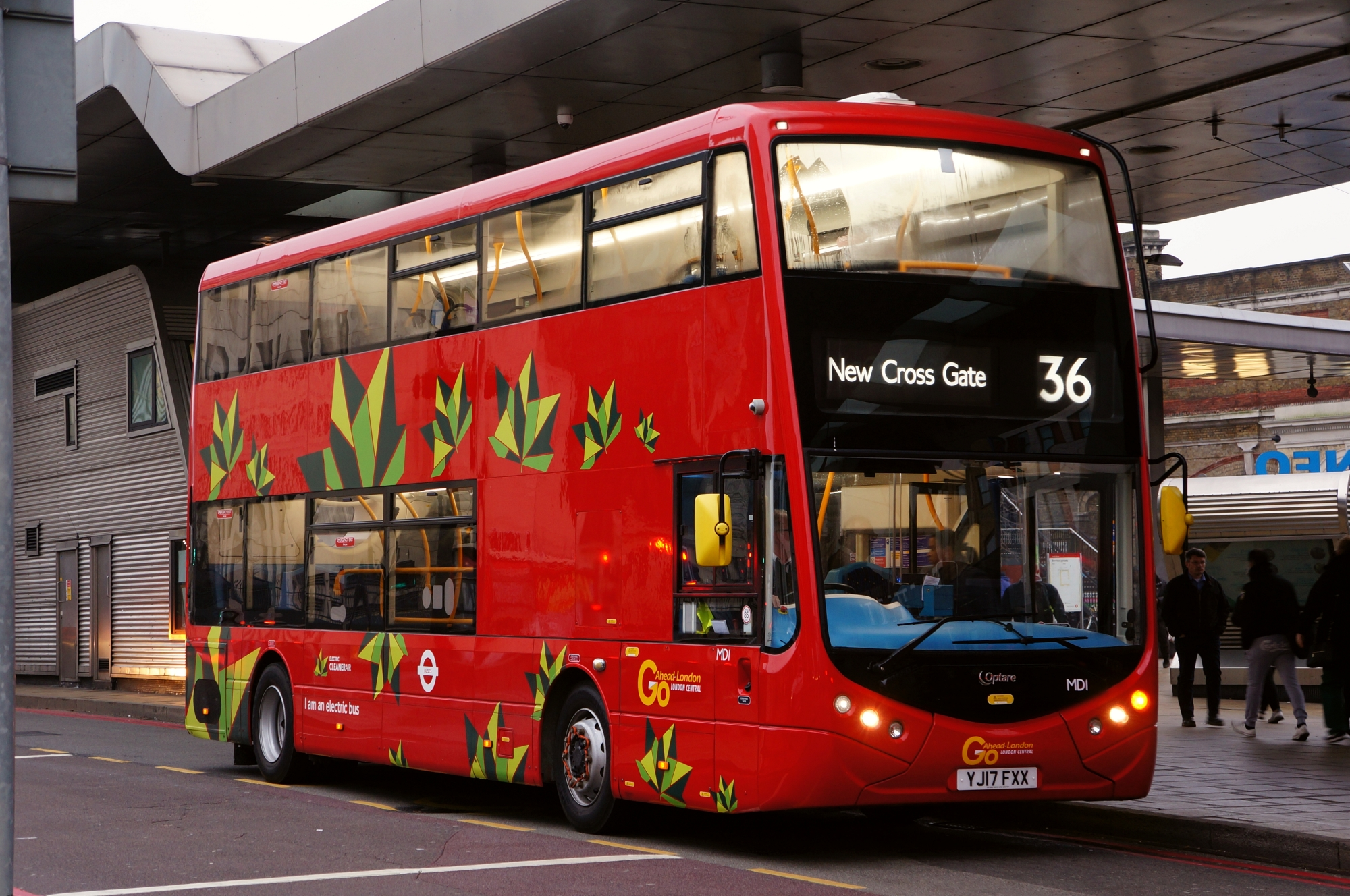 Optare Metrodecker EV Demo- first day of service London, route 36, Vauxhall Bus Station - credit Thomas Drake News Res.jpg