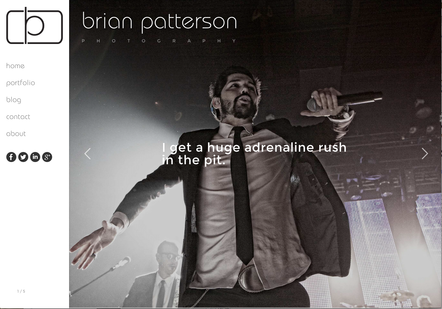 brian patterson photography. entertainment and concert photographer portfolio site. custom designed on wordpress.
