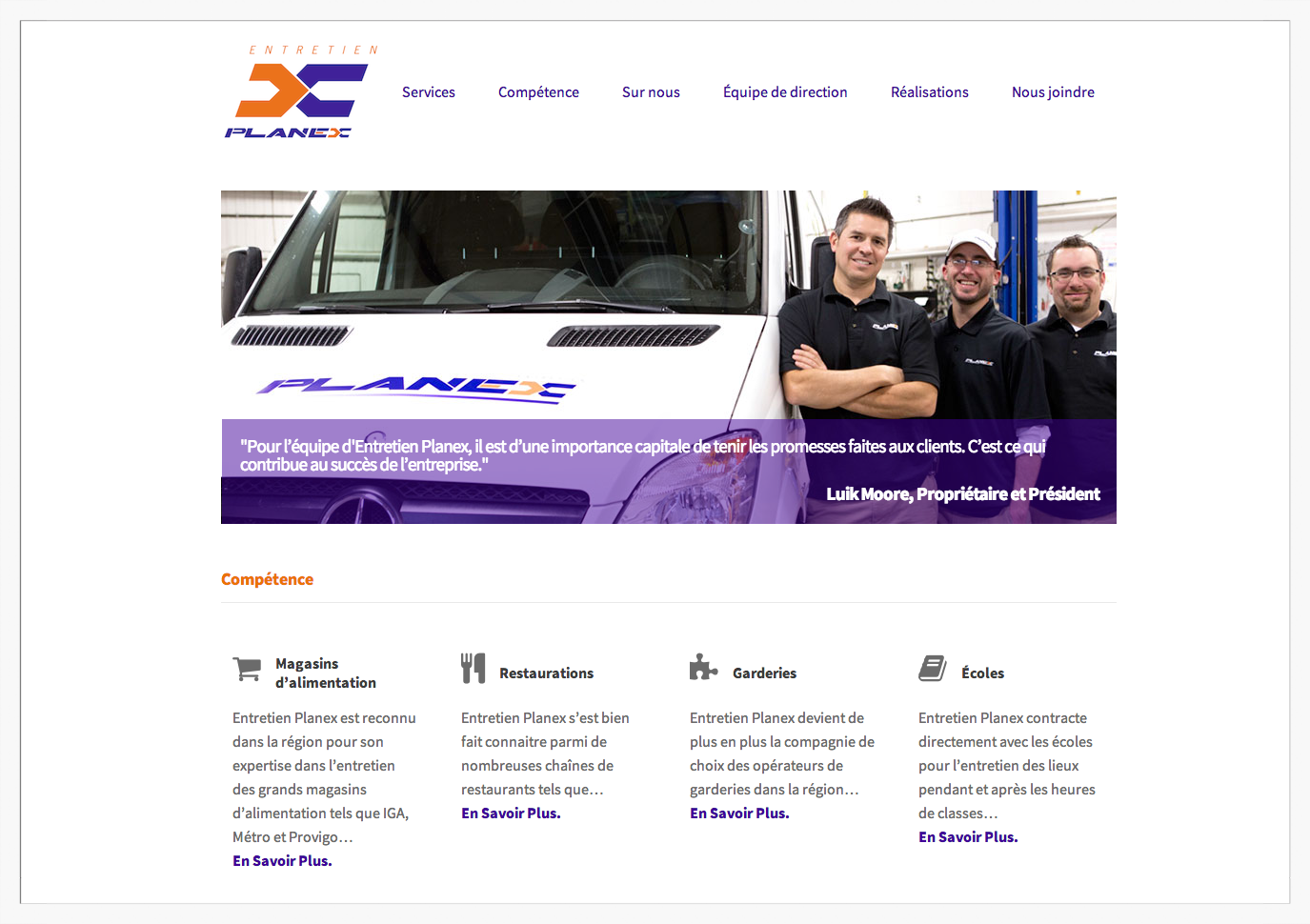 entretien planex is a quebec-based commercial cleaning company. french language site custom designed on wordpress.