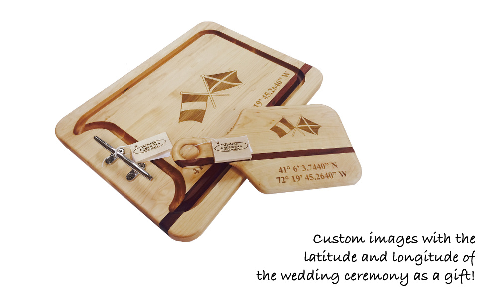 engraved_wedding_gift_appetizer_cutting_board_with nautical_cleat