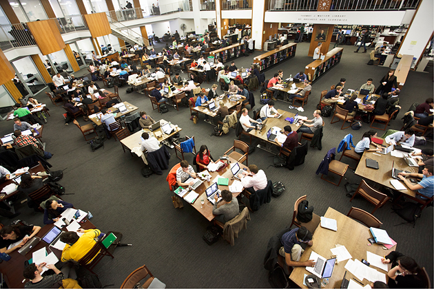 Students prepare for classes and case studies in Columbia Business School's Watson Library