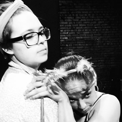 Ensemble Member,  Alexandra Elise Rose and Beverly Lopez  in   Billboards Greatest Hits  by Cecilia Copeland.  Summer Shorts Play Festival. June, 2014. Urban Waves @ Open Hydrant Theater Company.