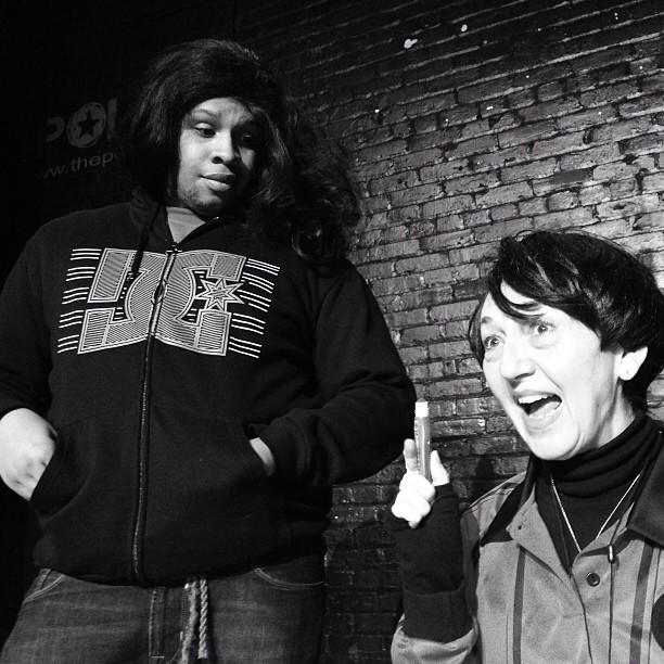 Ensemble Members,  Tosh Hall and Deborah Pautler  in   Play the Papers for Lupe   by  Luis Reyes Cardenas.  Winter Short Play Festival. January, 2014. Urban Waves @ Open Hydrant Theater Company.