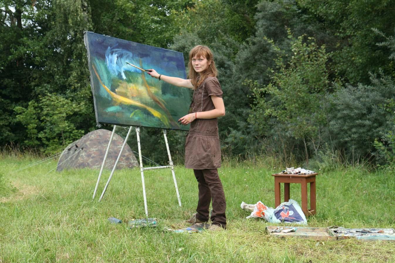 Plenerinės tapybos dirbtuvės, Kristina Matijošaitytė tapo Fotografas Arnas Anskaitis